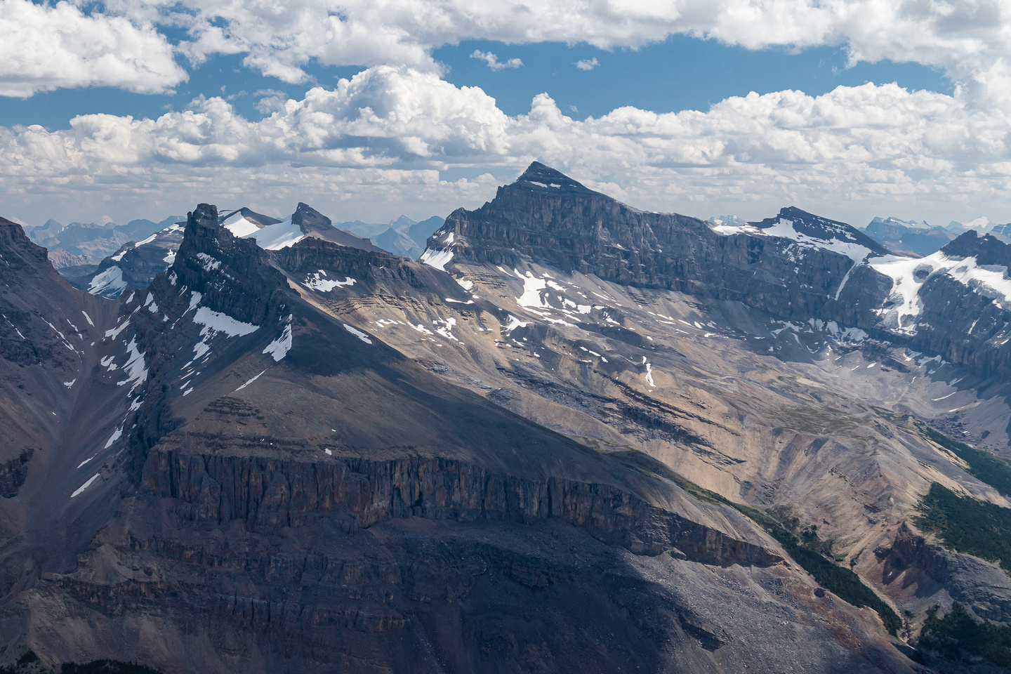 Resolute rises behind Troll Peak to the left of Mount Cline.