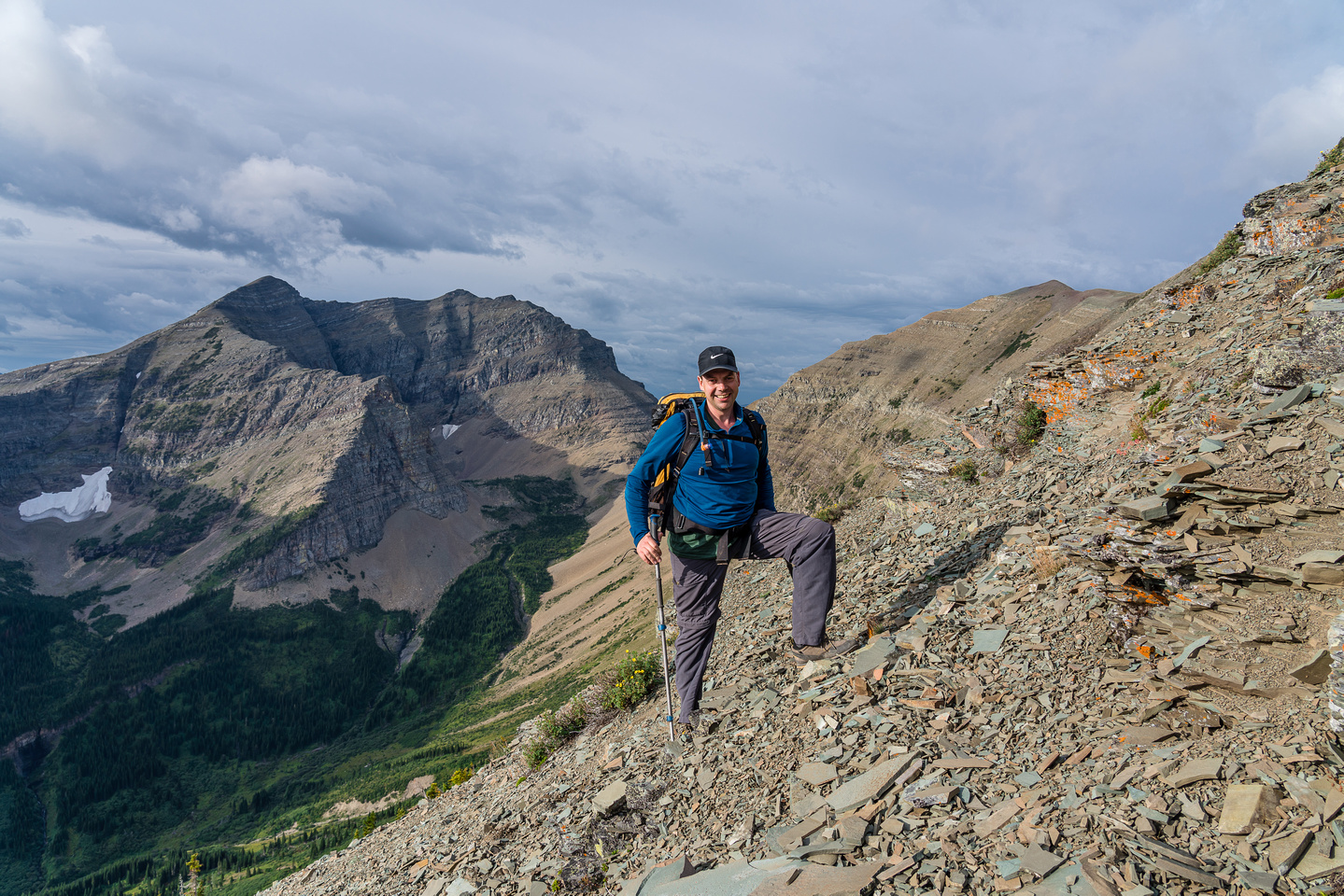 Ascending the east ridge of Mount Haig, views to Middle Kootenay Mountain.