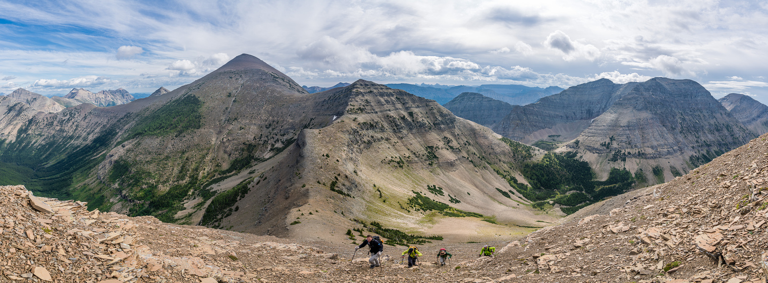 The boyz follow me up the NE ridge of Boot Hill. Haig and Middle Kootenay in the bg.