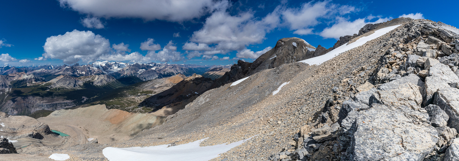 Views over the scree / snow I used on descent. Des Poilus at center right, Mummery at left.