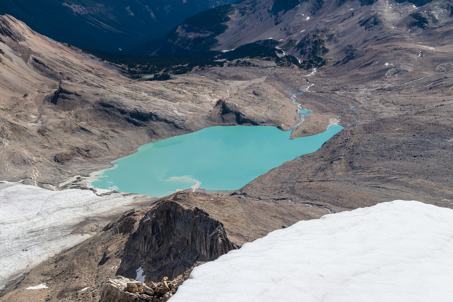 The Wapta Icefield melts into the stunning lower tarn.