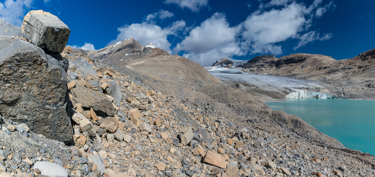 "A natural ""cairn"" waits to fall on my head as I continue the traverse around the lower tarn."