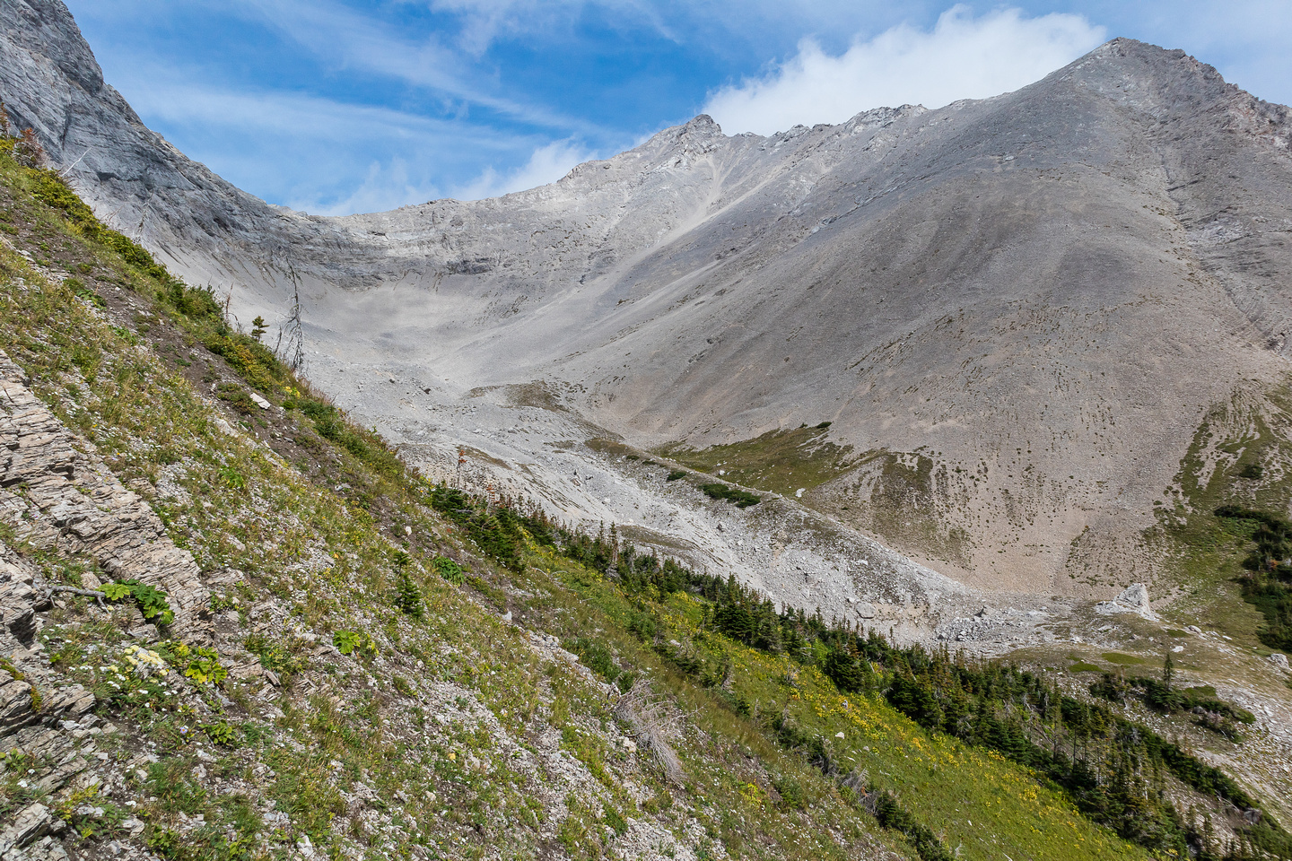 One last look back at the scree bowl and the main massif of Mount McGladrey before I ascend Pengelly