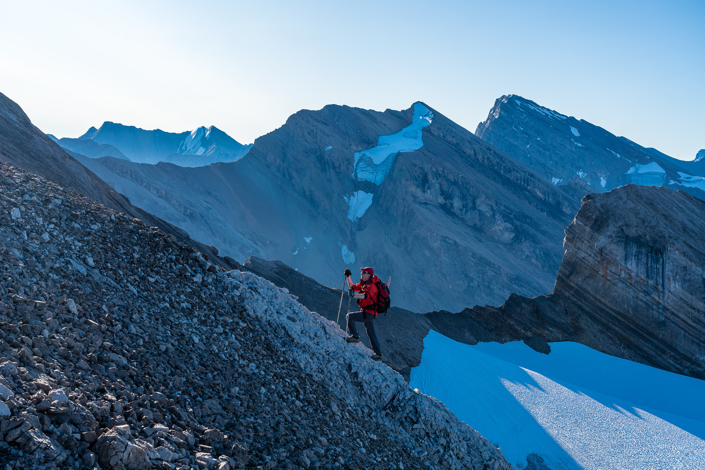 """Mike ascends the SW ridge of Deluc with Little and """"Big"""" Cataract in the bg."""