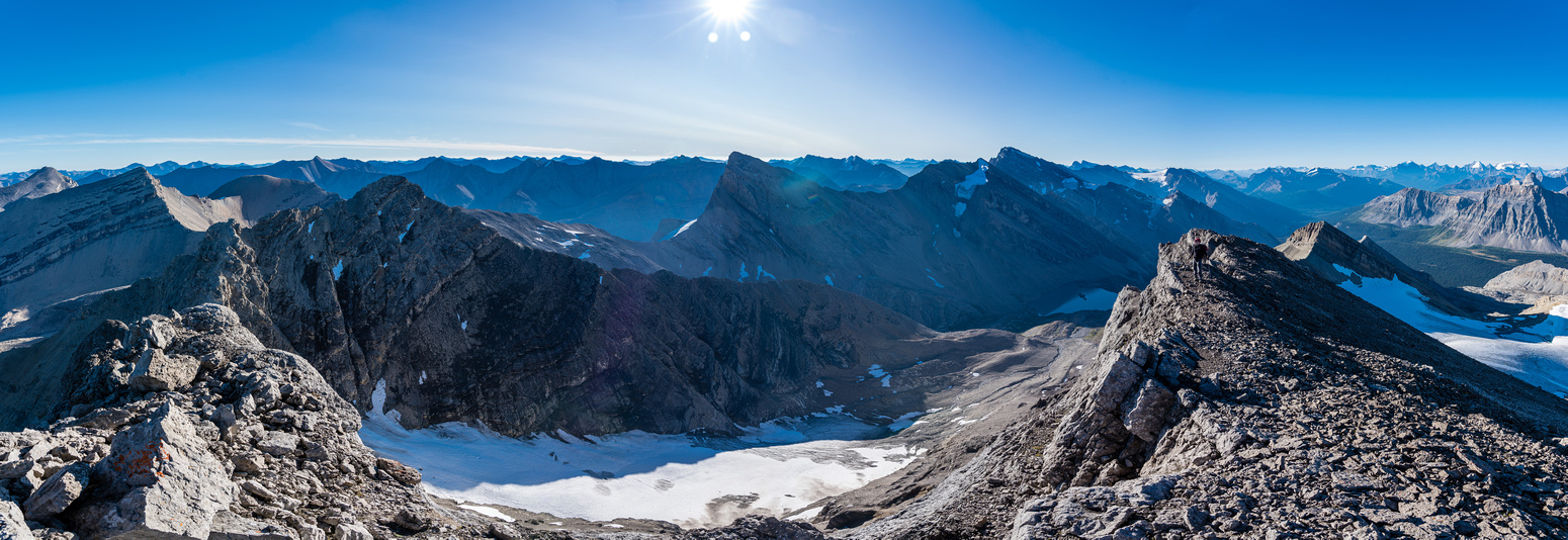Panorama to Middle Brother (L), Cataract and Little Brother (R) with the Three Brothers Glacier.