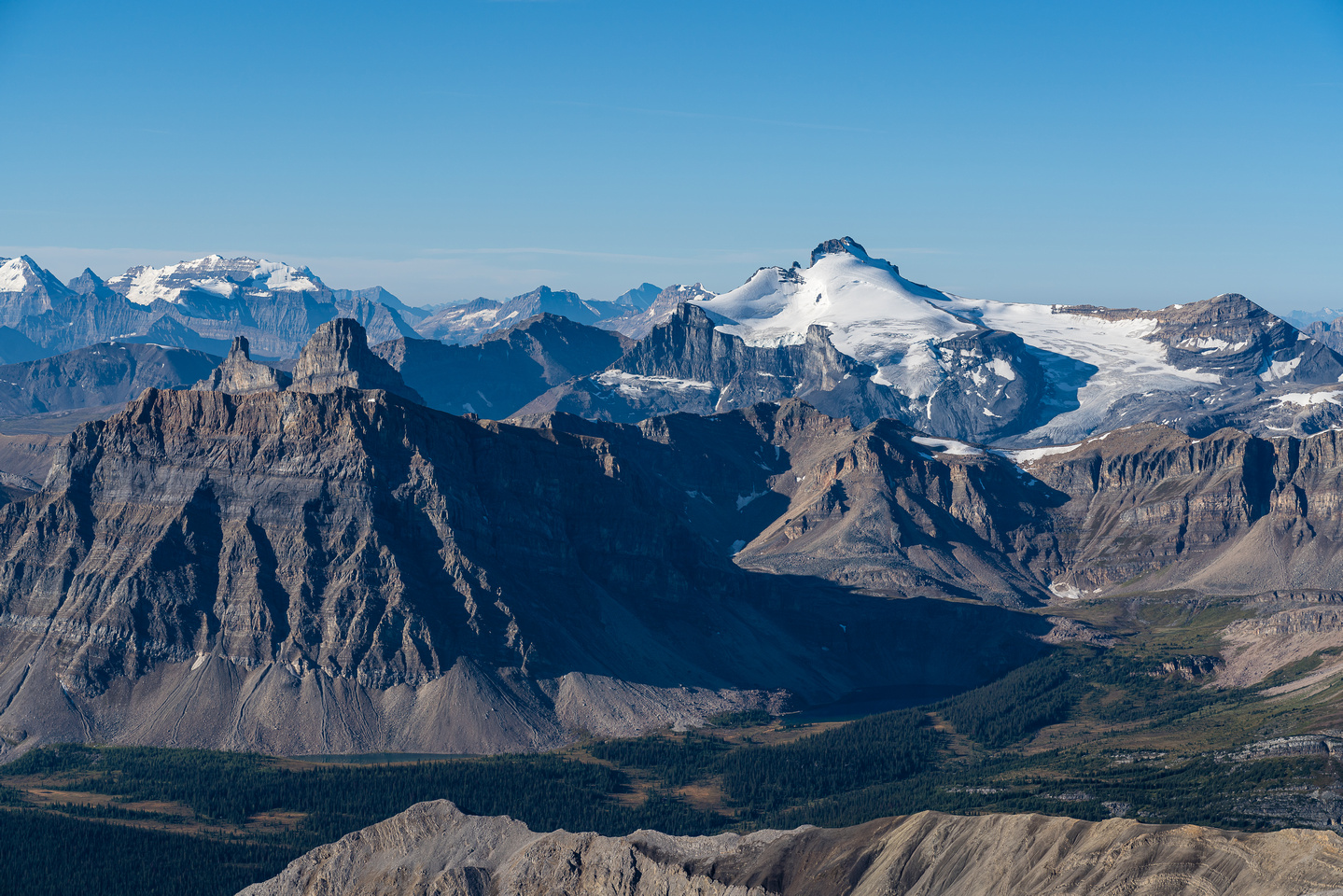 Minnow Peak at fg left with Mount Hector at right.