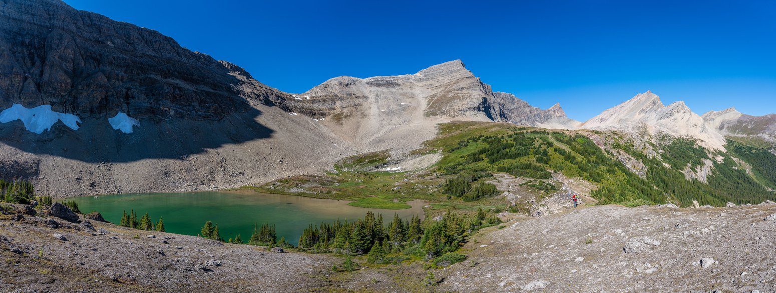 The lower bivy lake with our access col at upper center.