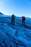 Ascending the easy Deluc Glacier.