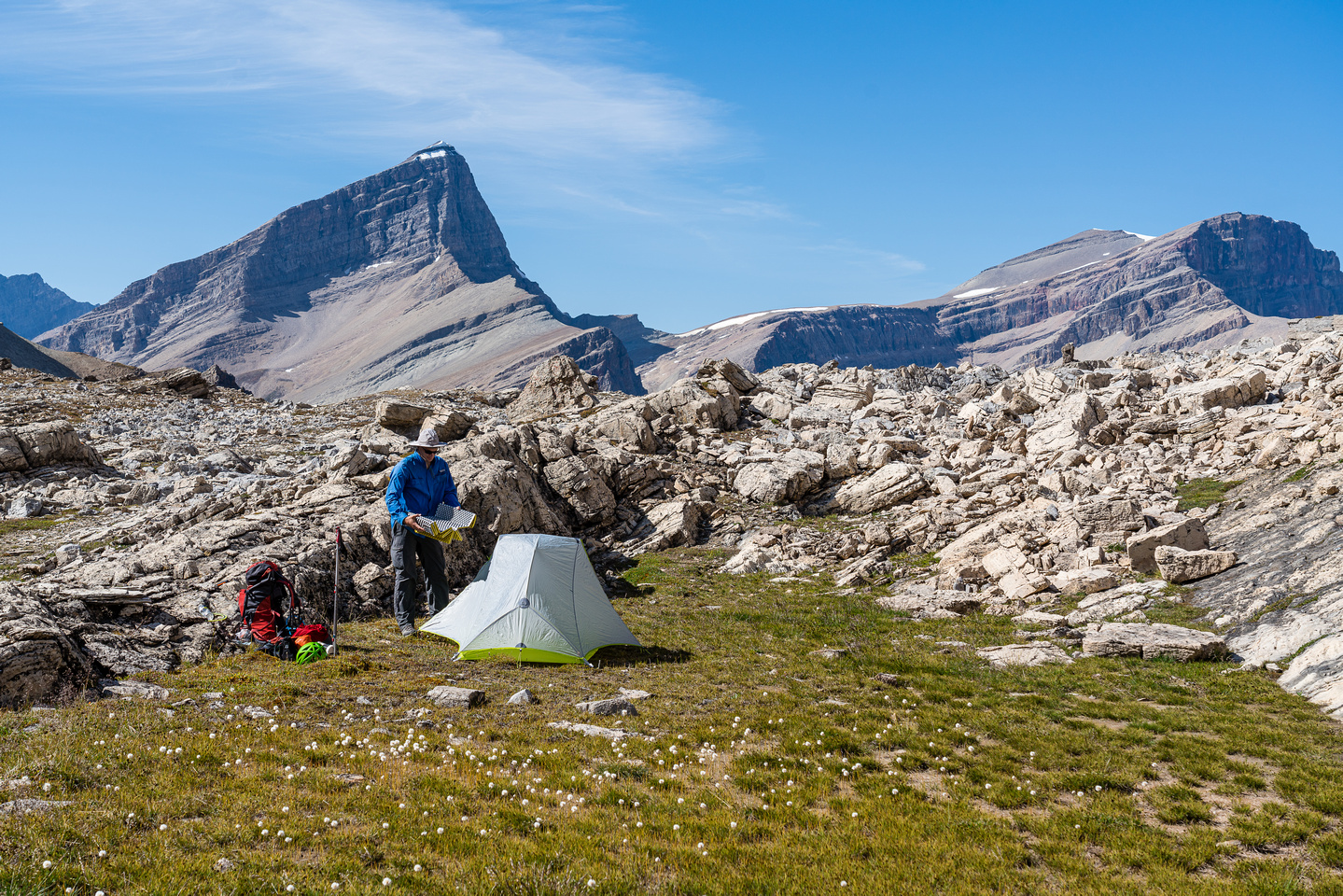 A perfect bivy site, relatively flat and protected from rock fall. South Tower and Harris in the bg.