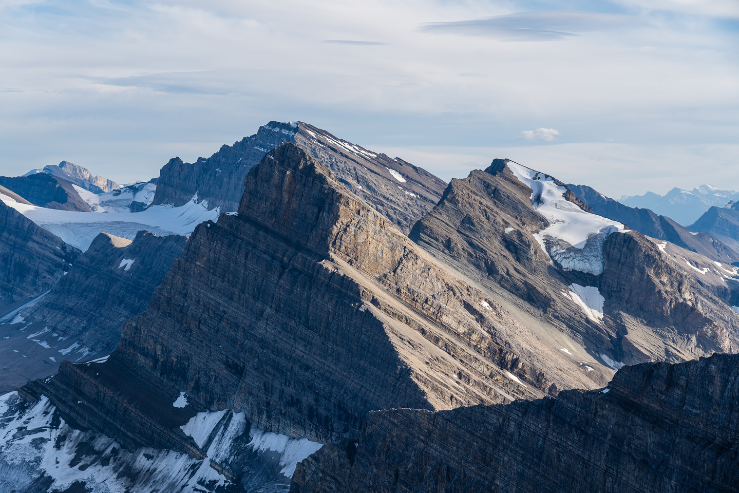 Cataract Peak at center with Little Cataract and its glacier at right.