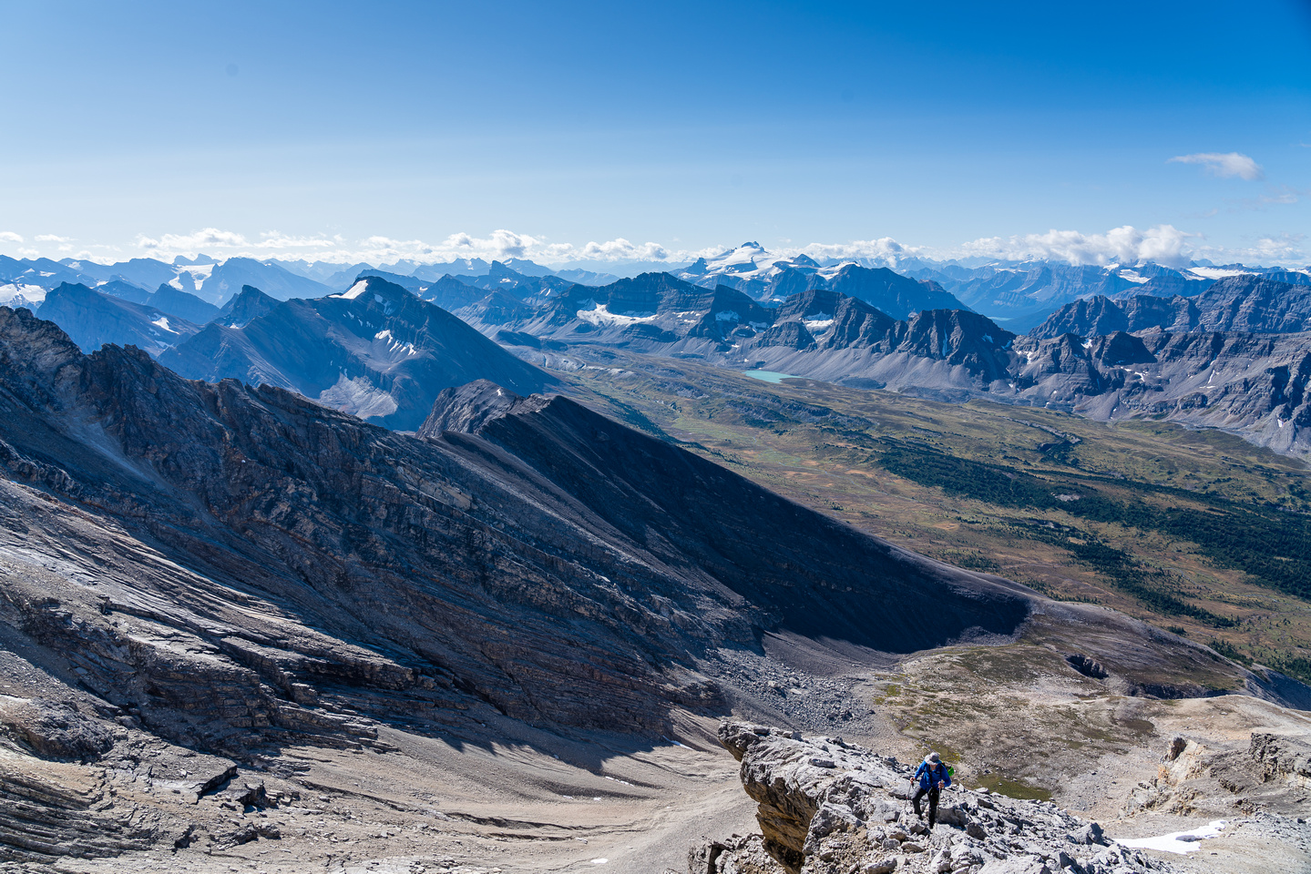 Stunning views over Clearwater Pass and the Siffleur Valley as we near the summit ridge.