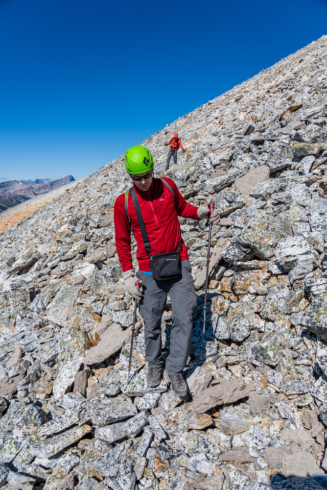 Descending rubble and scree on the SW face of Clearwater.