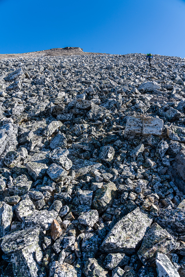 Another rubble field to ascend. Endless rubble but endless views as well. It's worth it.