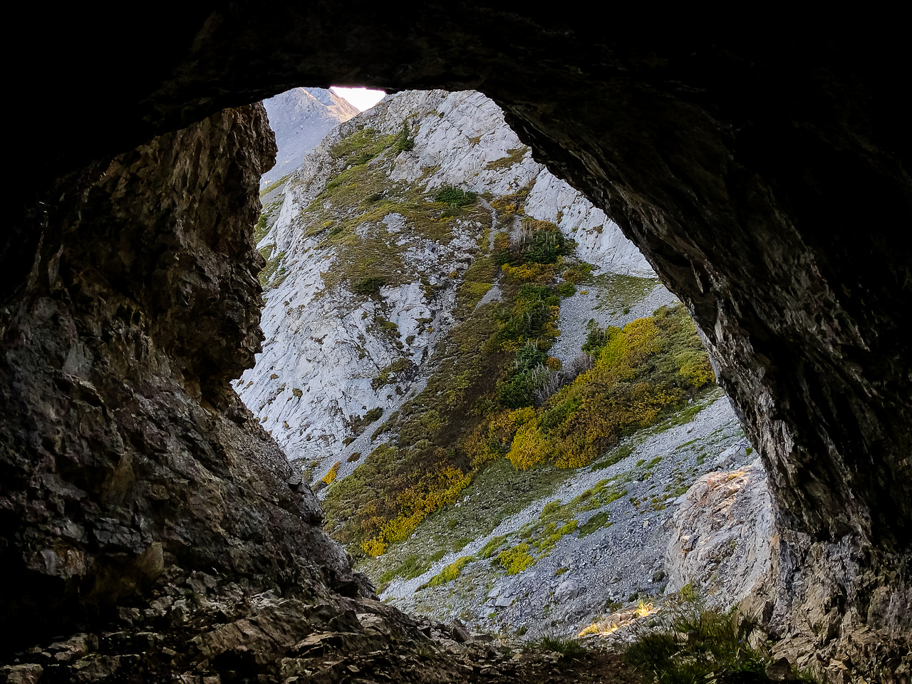Looking out of the cave.