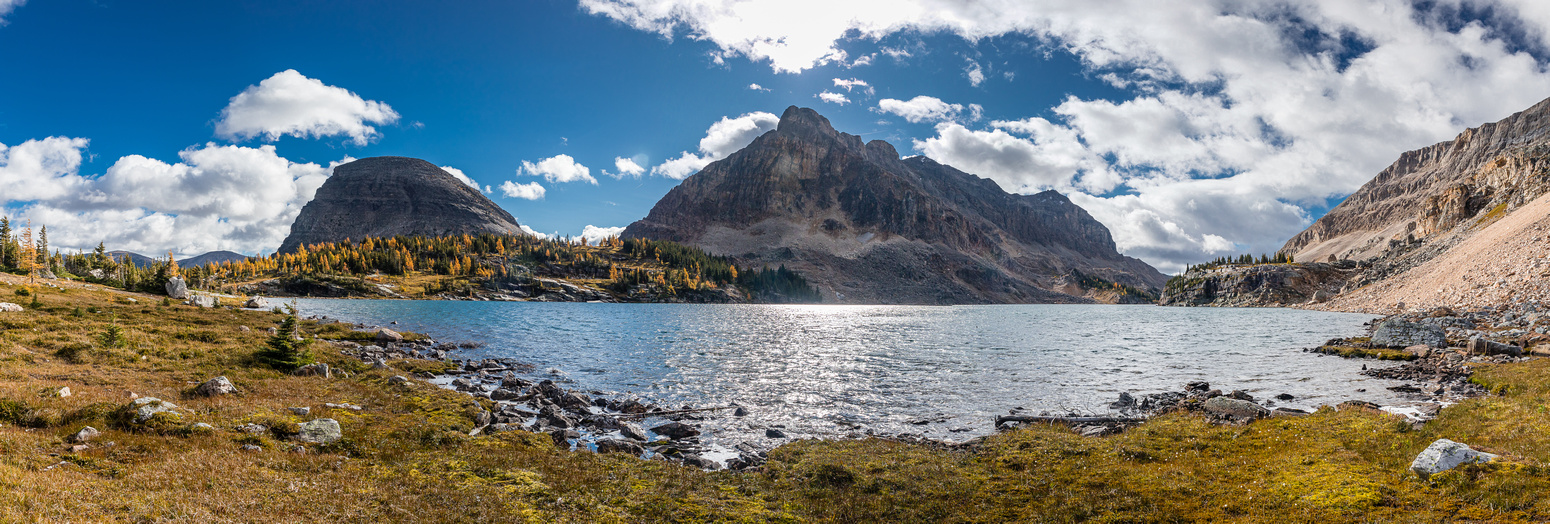 Hiking around the north end of Mummy Lake, The Sphinx at left and Natalko peak at center.