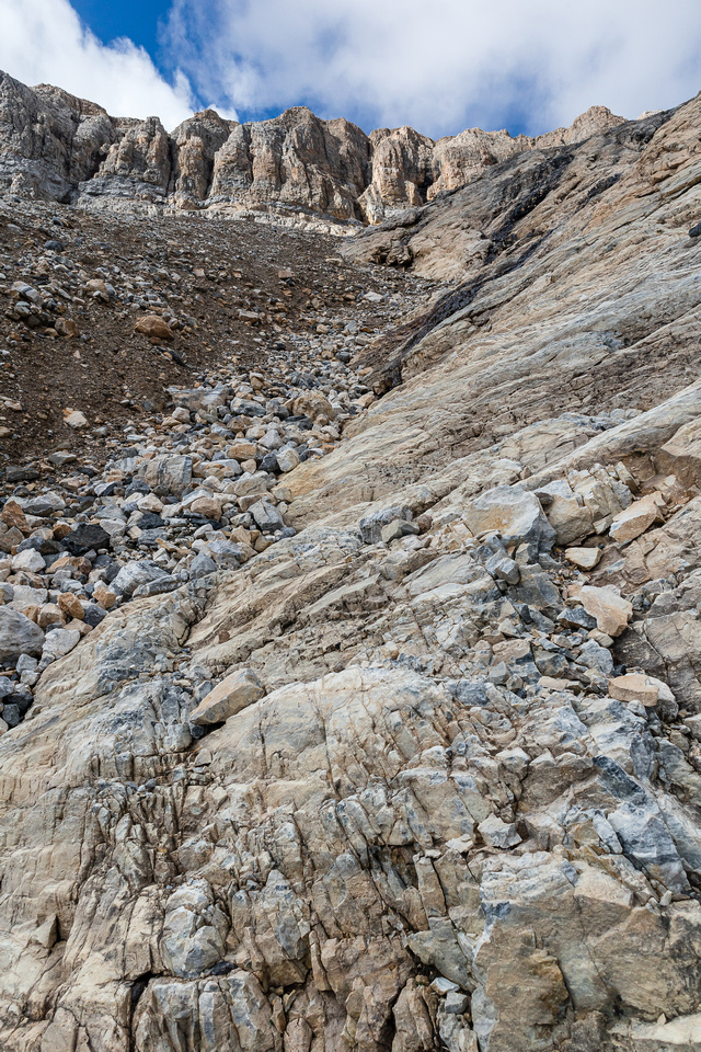 A slab / scree gully leading up past the lower cliff bands on the east slopes of scarab.
