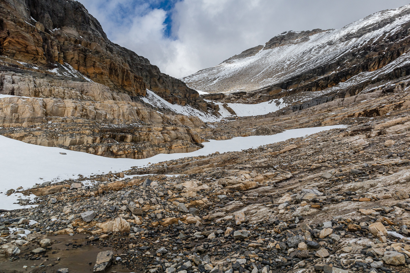The shallower and easier second glacial bowl has less glacier and cliffs and more scree and snow.