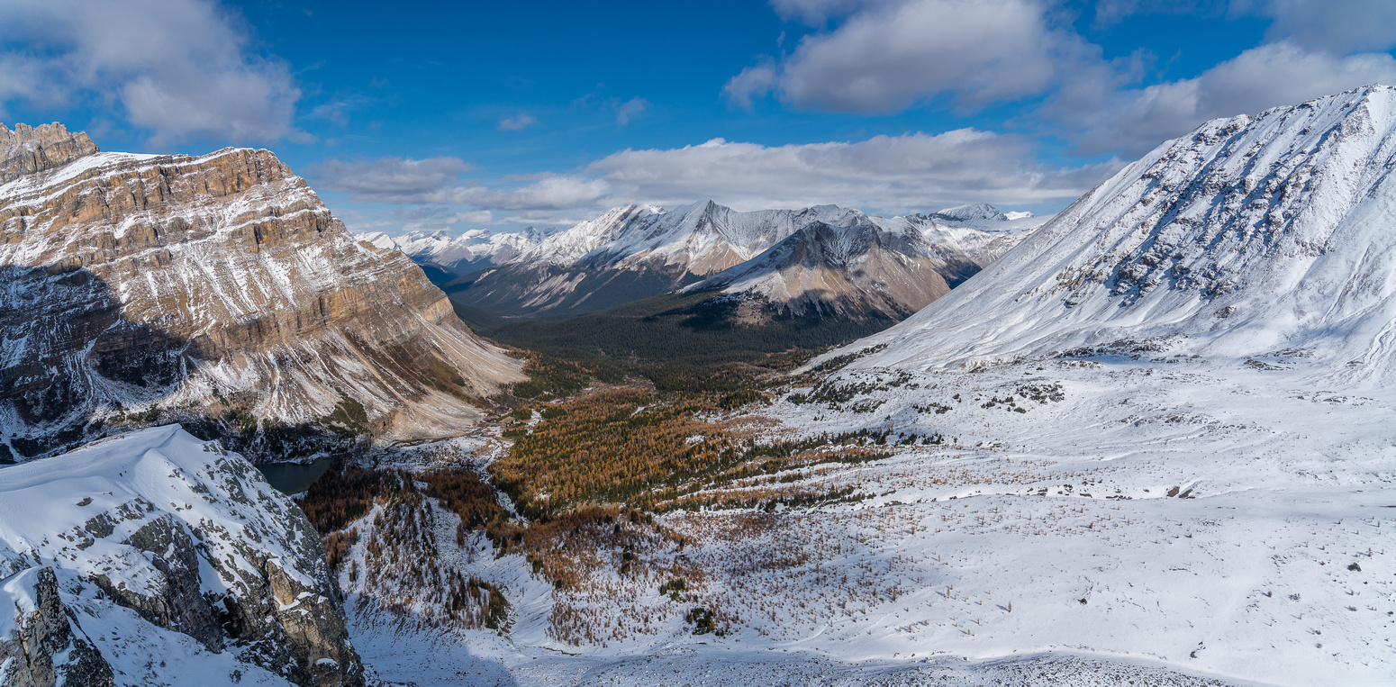 Views down the Skoki Valley towards the Pipestone.