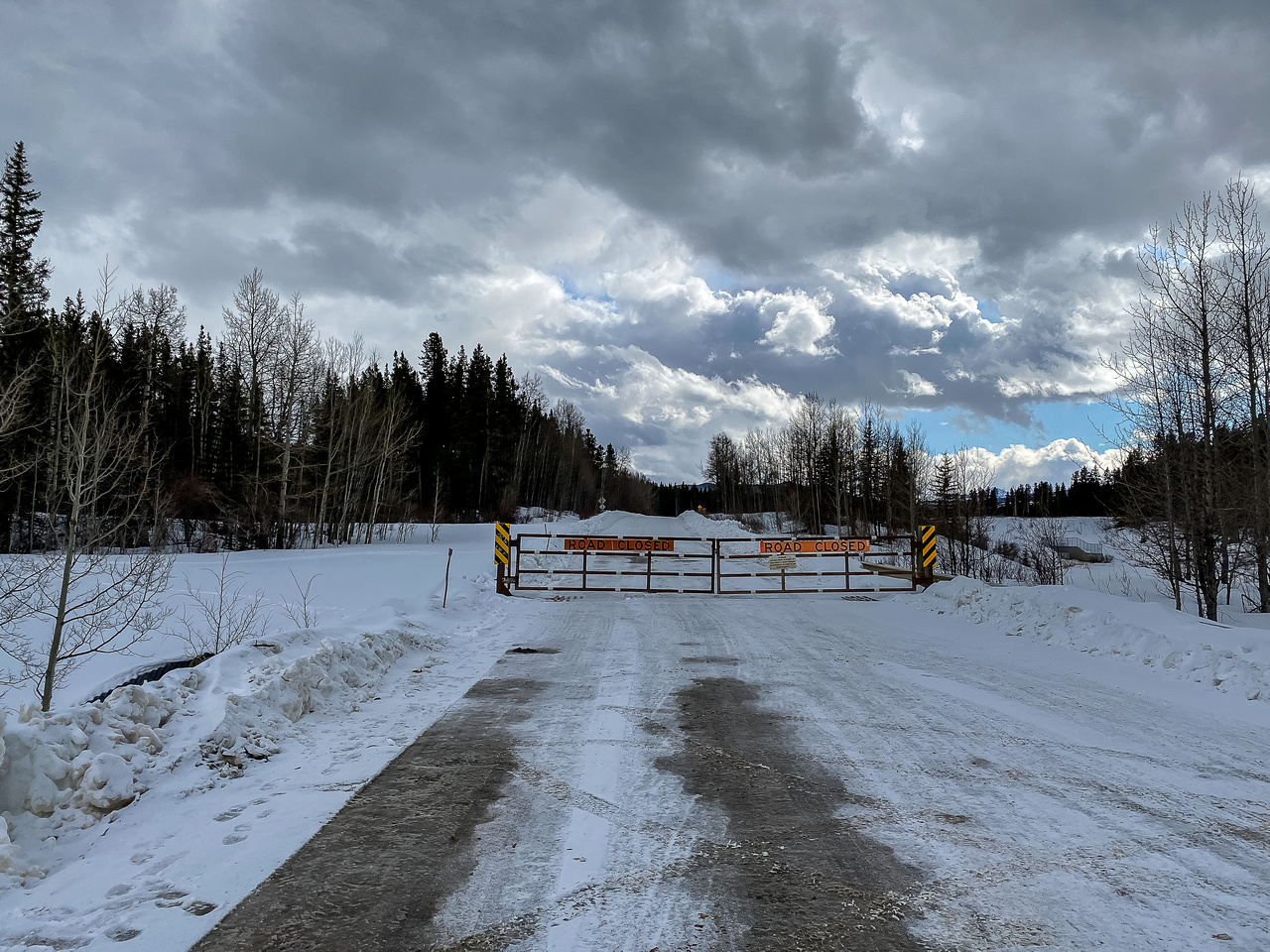 The winter gate on McLean Creek Trail. Don't park too close!