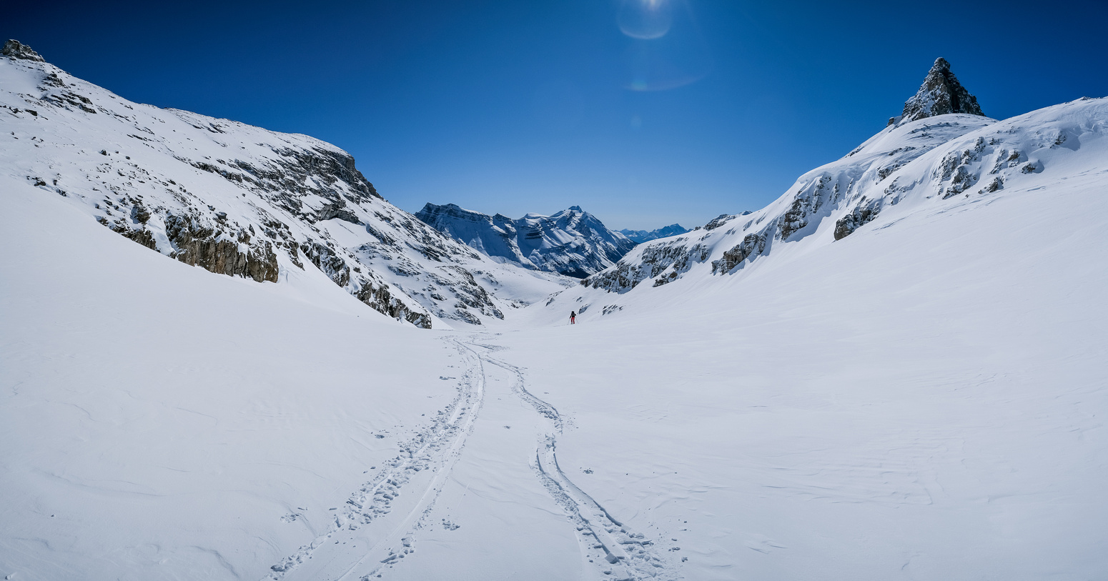 Skiing down towards the pristine hanging valley between Puzzle (L) and Dolomite (R).