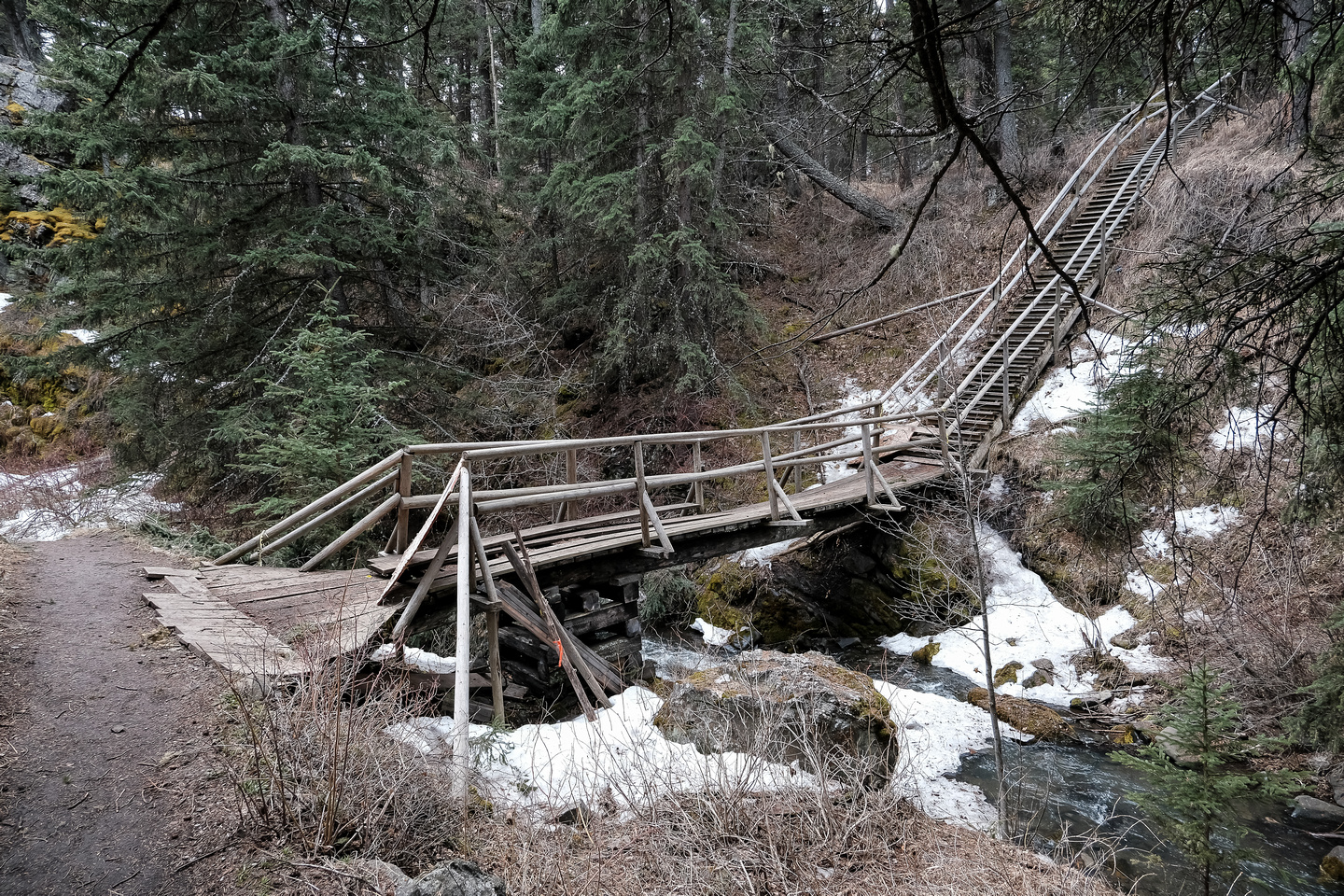 This bridge goes to the old mining site and is falling apart.