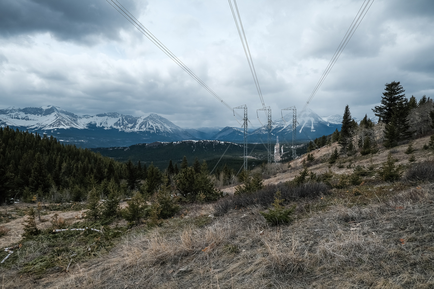 Moody views to the west as we hike under the power lines.