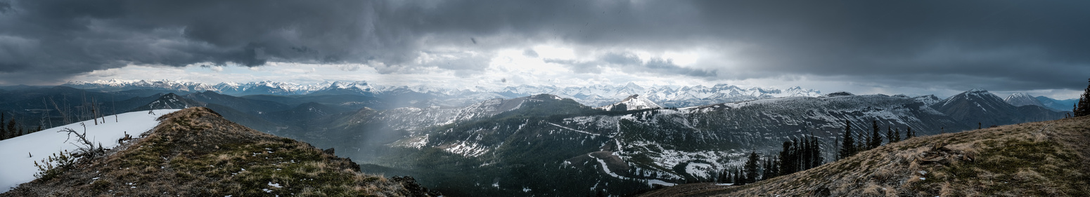 Incredible lighting and moody views from the summit of Poker Peak.
