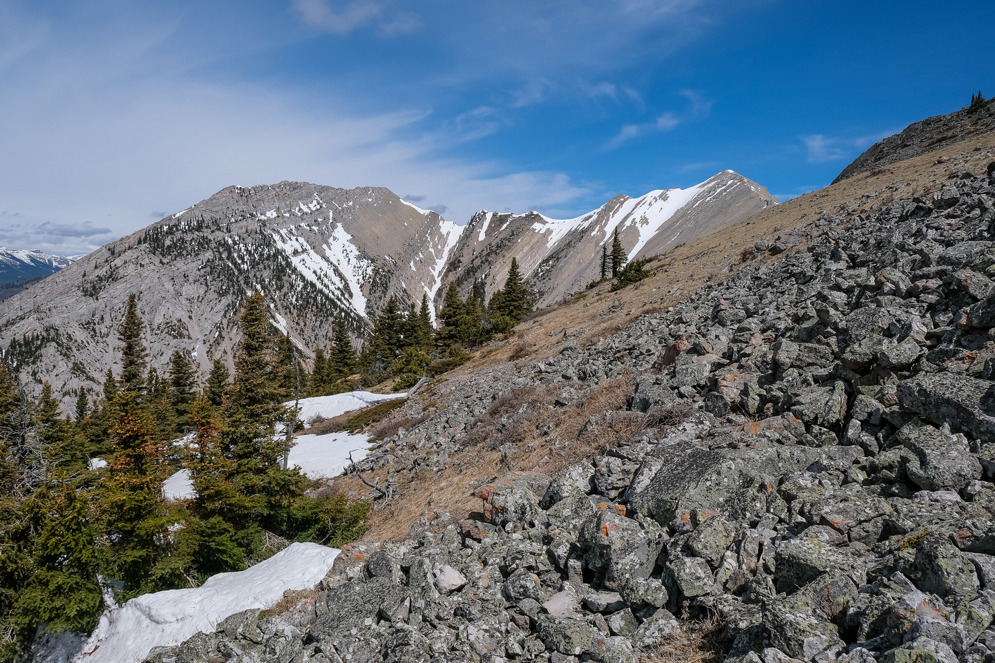 Traversing the ridge from The Dog towards Livingstone South and Morin Peak (C).