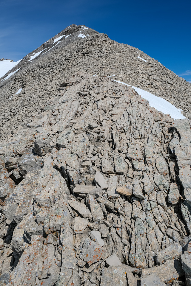 Ascending the easy south ridge of Livingstone South.