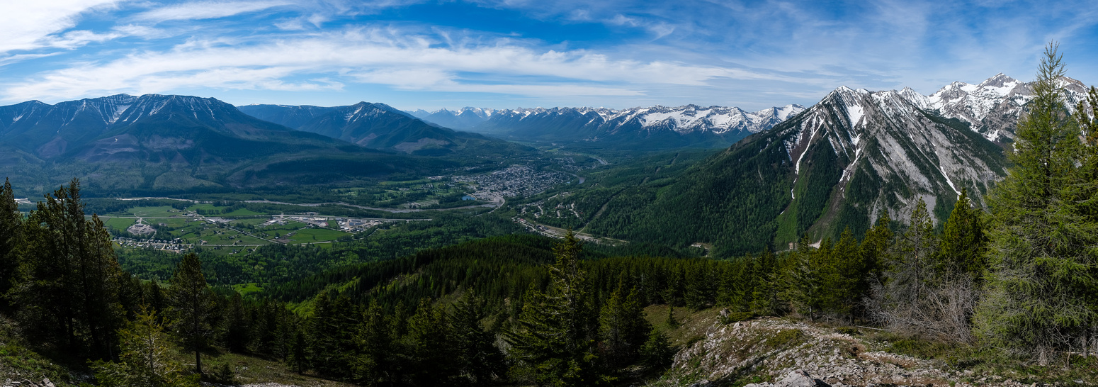 Views back over the town of Fernie towards Morrissey Ridge and Mount Fernie (R).