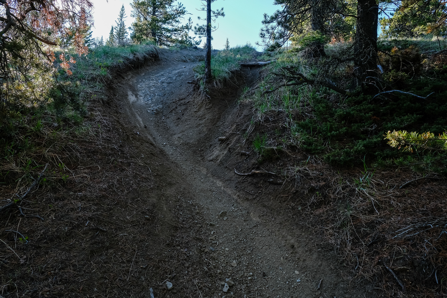Returning to Quirk Ridge North on the dirt bike track.