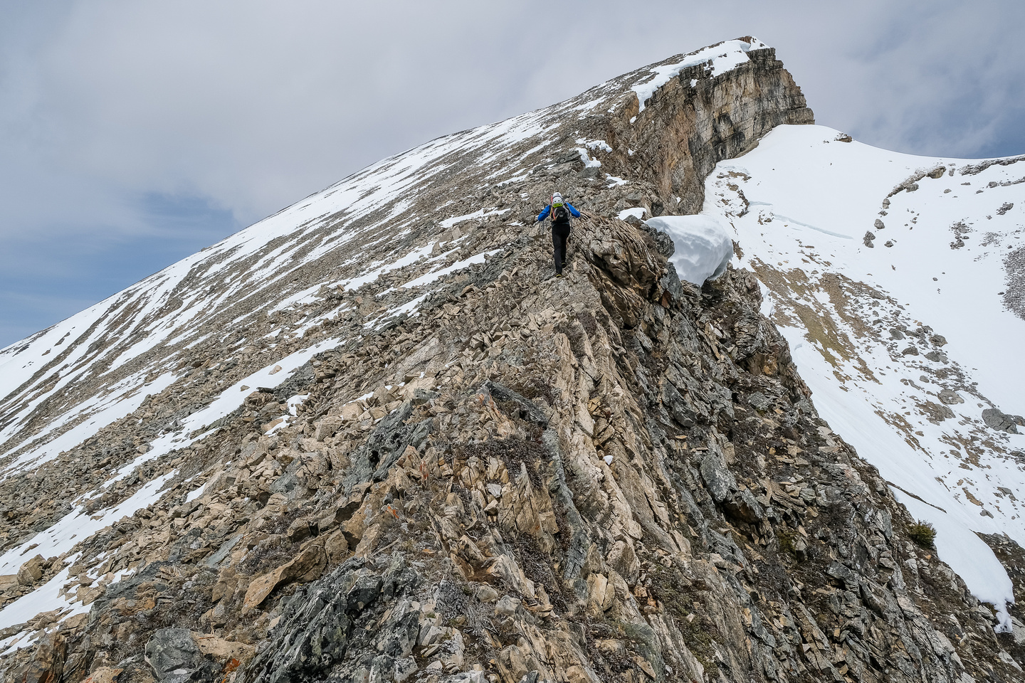Phil ascends easy slopes to the summit of Haunted Peak.