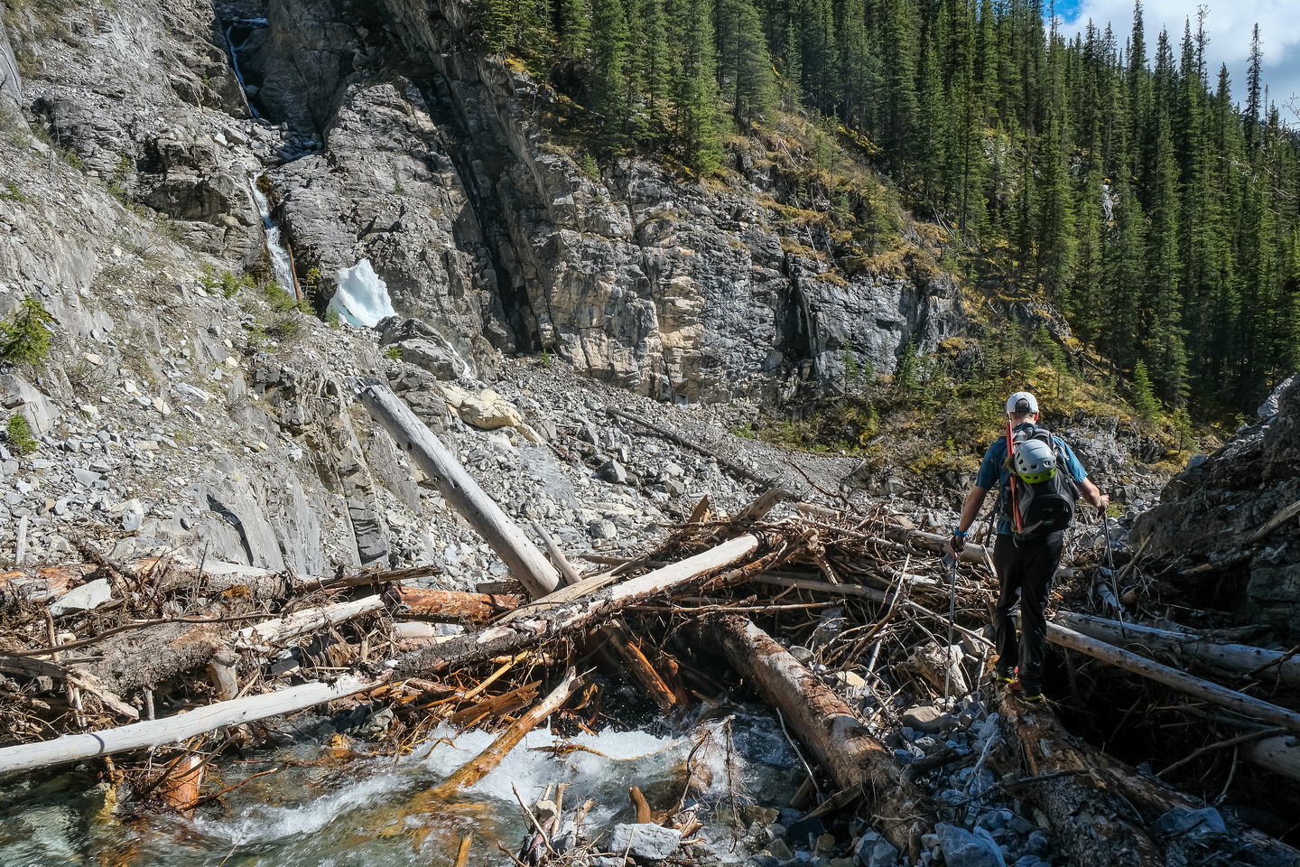 A major log jam along the creek - more evidence of recent heavy flows.