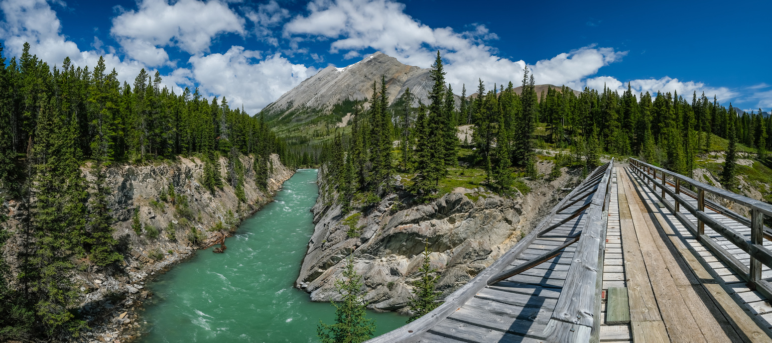 A stunning view back to Mount Tyrell up the Red Deer River from the bridge.