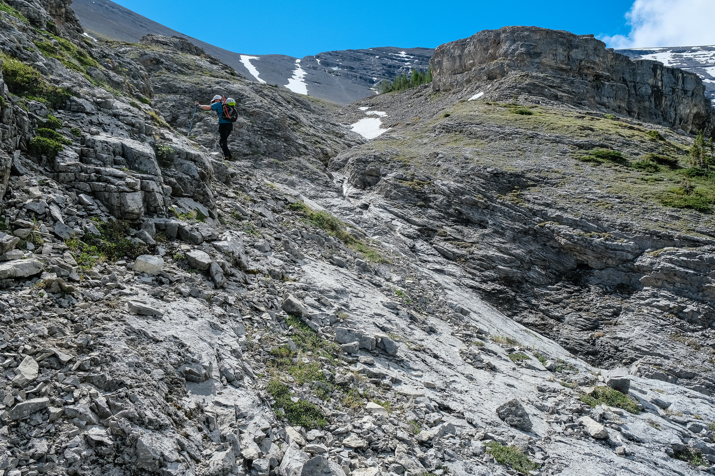 Hiking up climber's left of the NW gully.