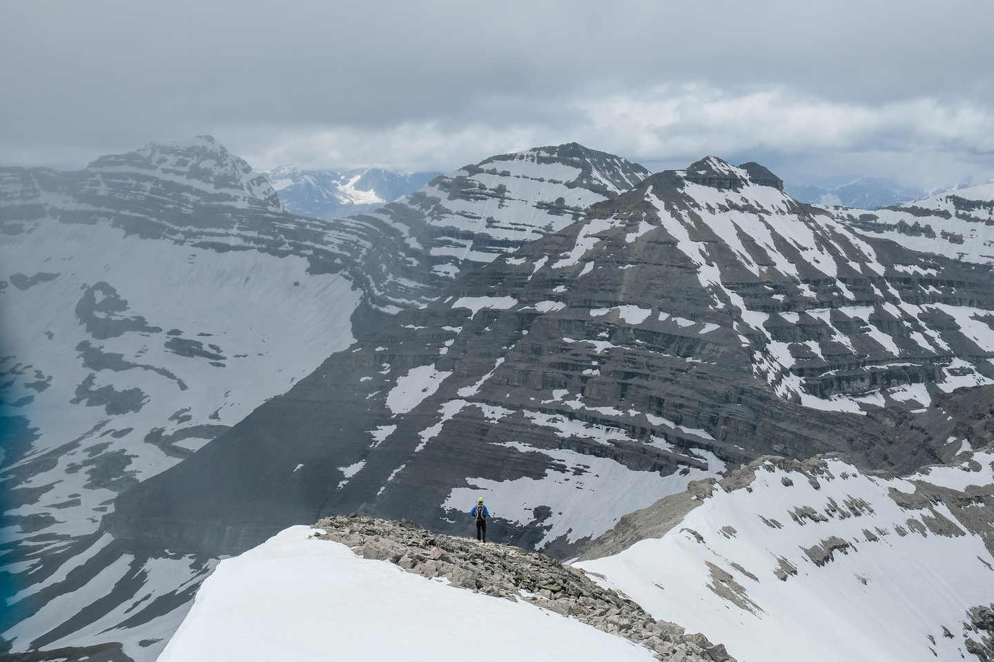 Phil is tiny on the west ridge as we traverse to the outlier between Baril and Cornwell.