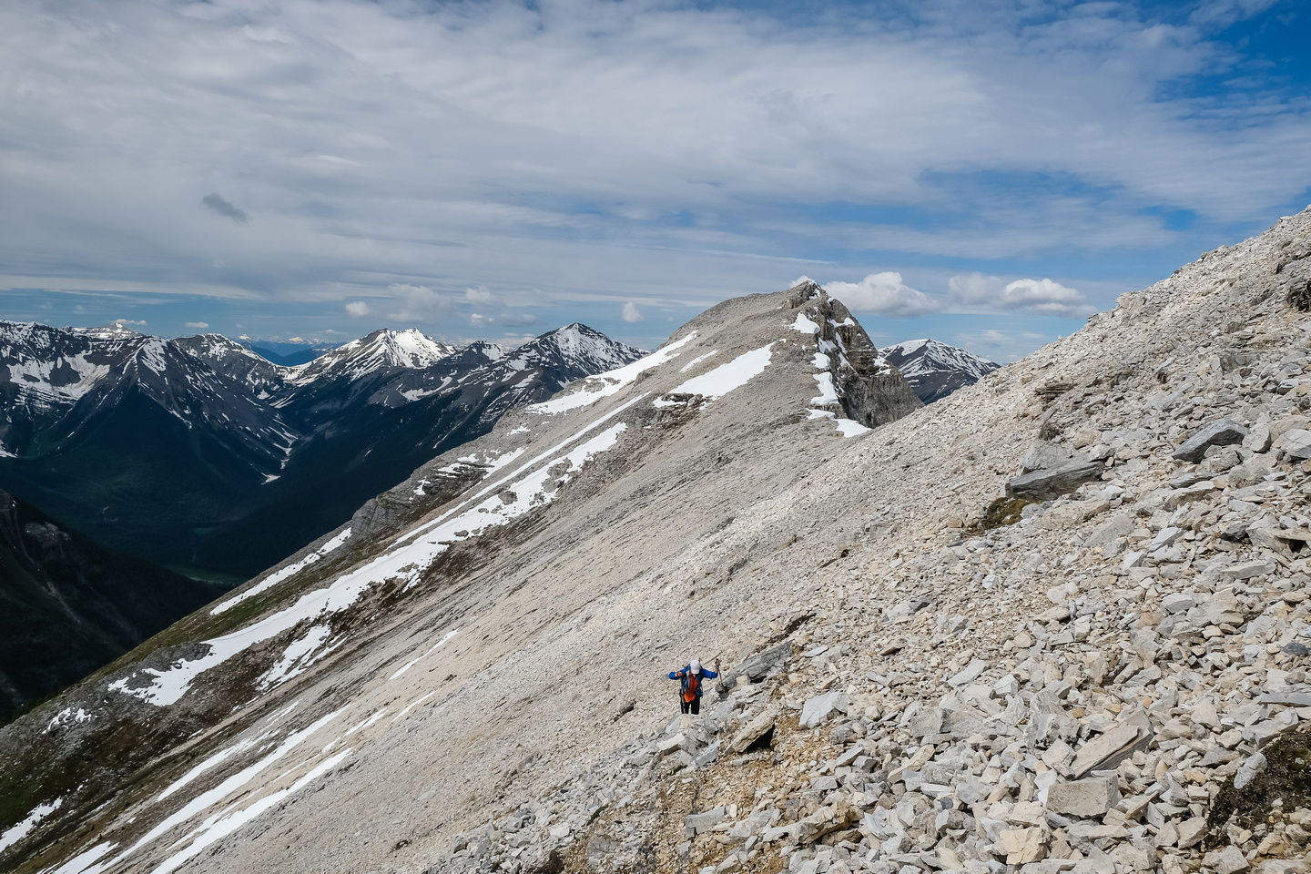 Scree to the west ridge.