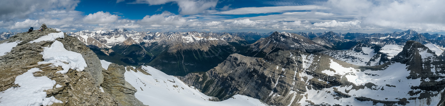 Phil on the summit with Assiniboine, Eon, Red Man, Currie, White Man and Talon (R) visible.