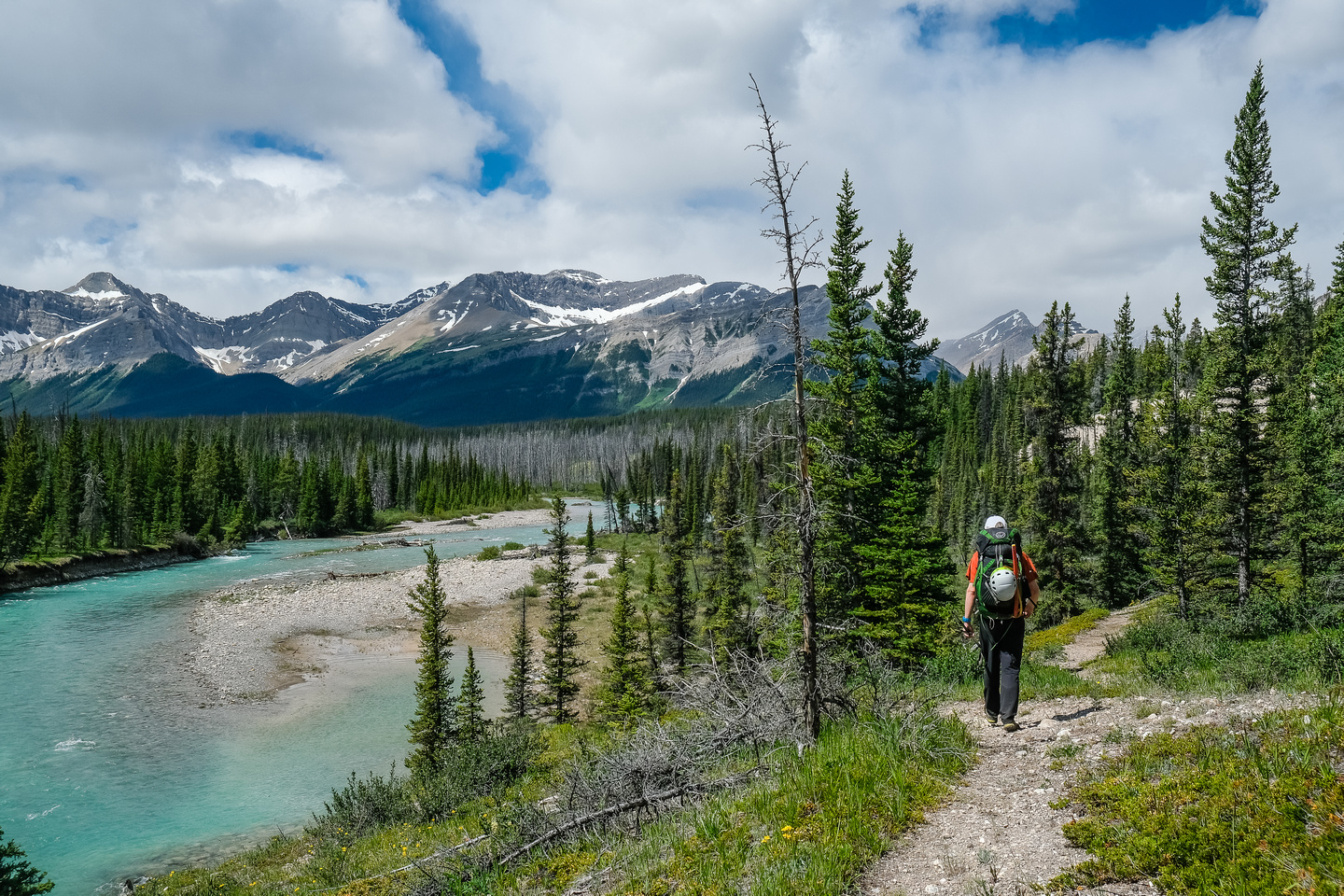 Hiking the Red Deer River trail.
