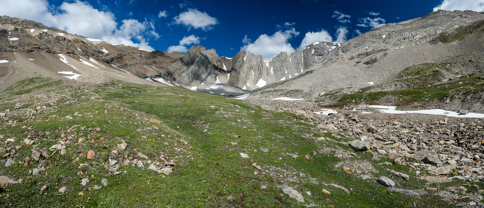 Traversing open meadows to the south bowl of Hangman Peak.