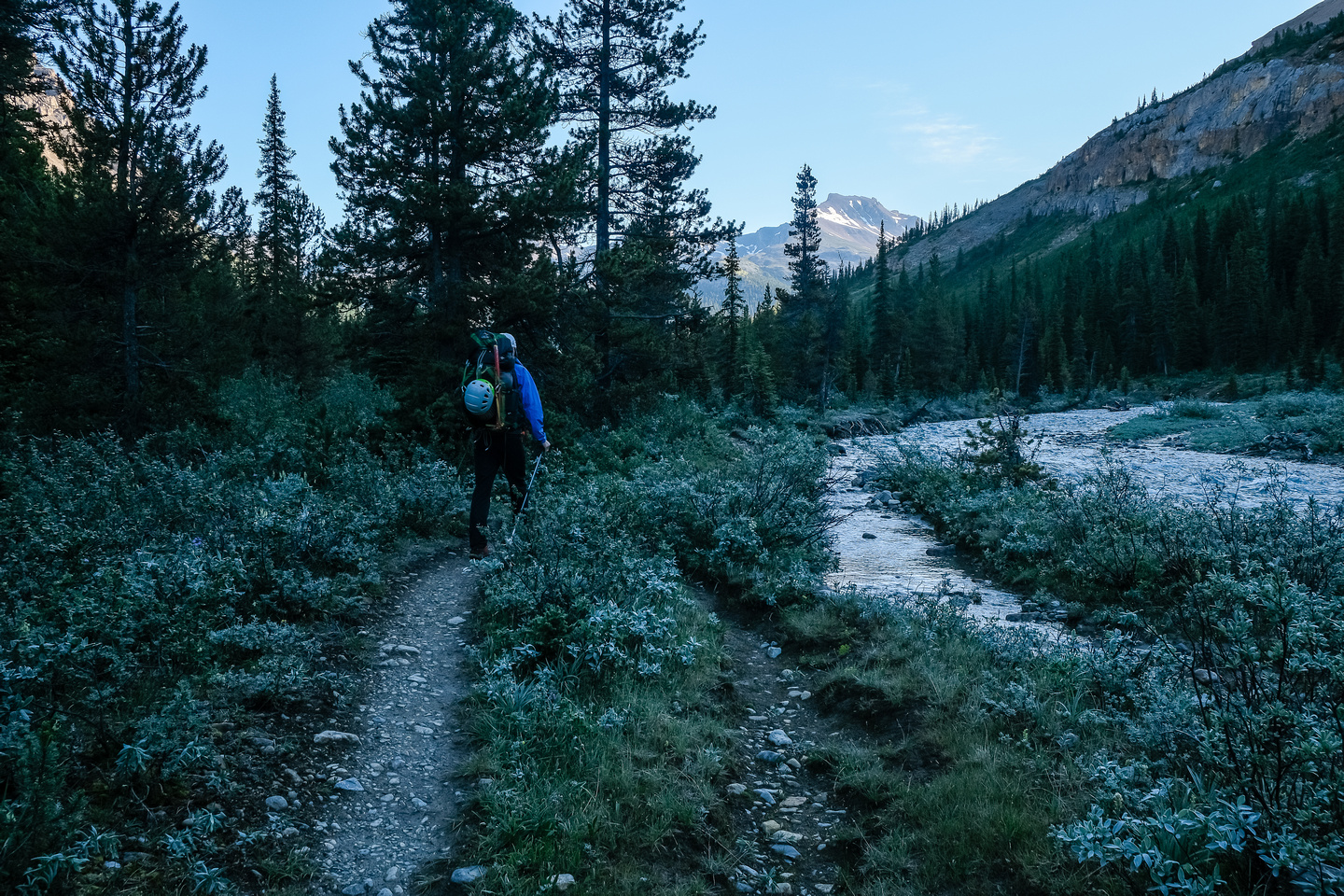 Hiking up Mosquito Creek with frost on the ground!