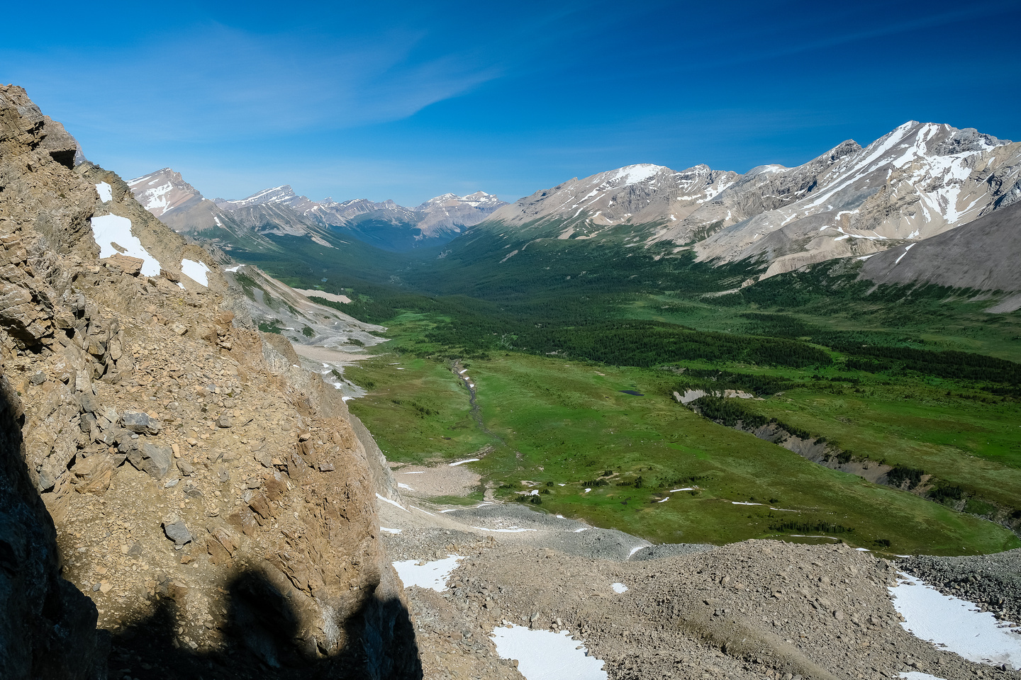 Views down and across the Siffleur River valley from Quartzite Col to Kentigern and Clearwater (R).