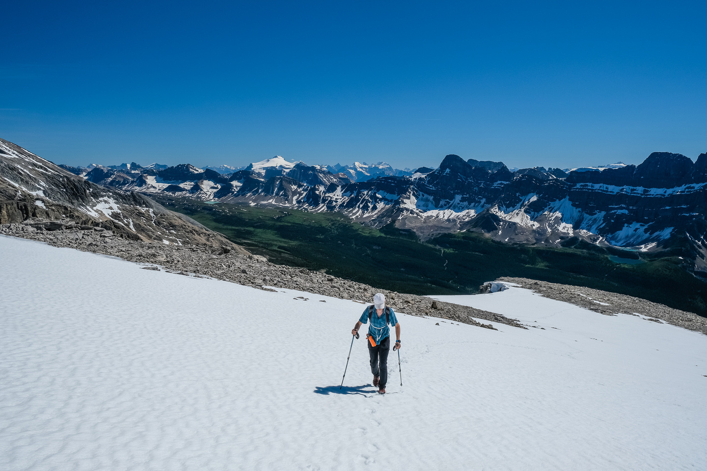 Snow on the upper slopes assisted both ascent and descent.