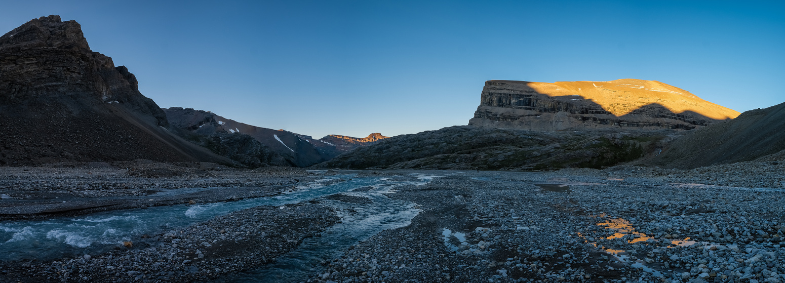Mount Harris catches sunset as we hike the eastern flats to our bivy.