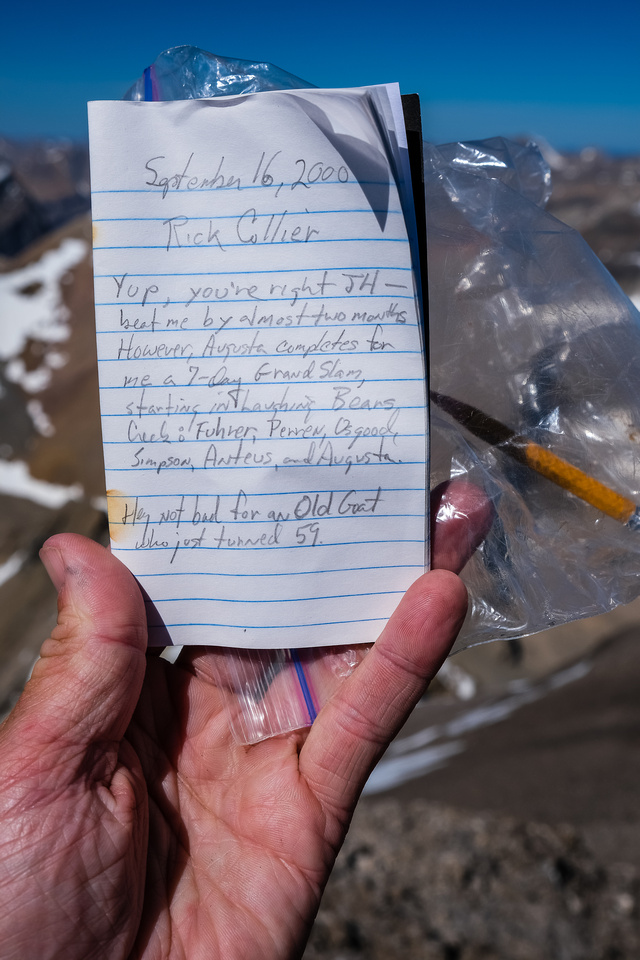 Summit register. We're the first to sign in 20 years!