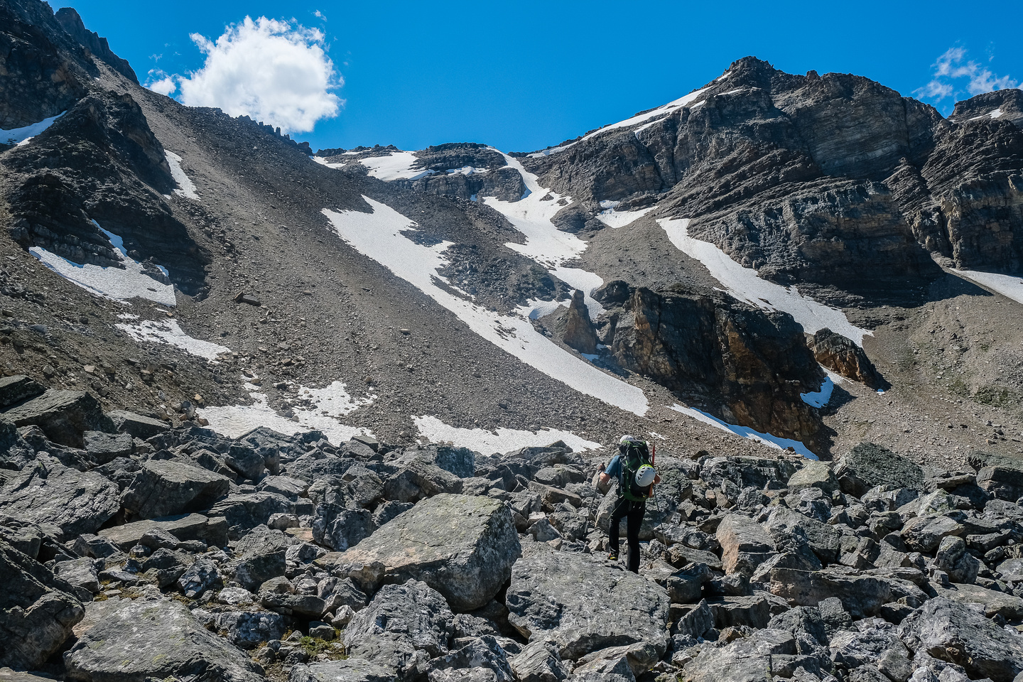 Starting up the Quartzite Col from the east.