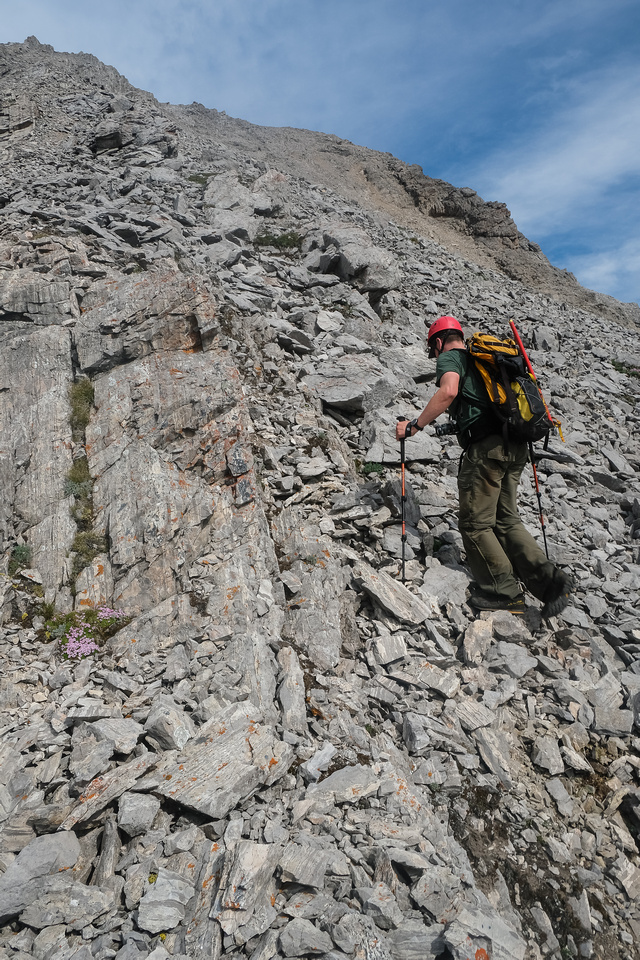 Route to the top. Easy slabs and scree.