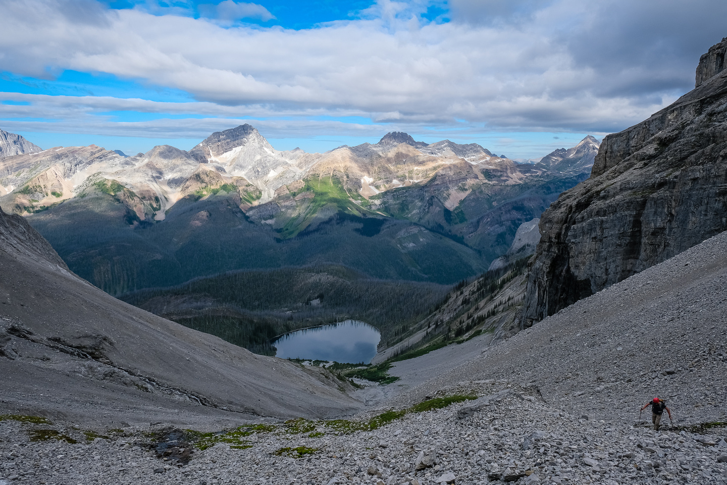 Views back over Deep Lake to Russell Peak.