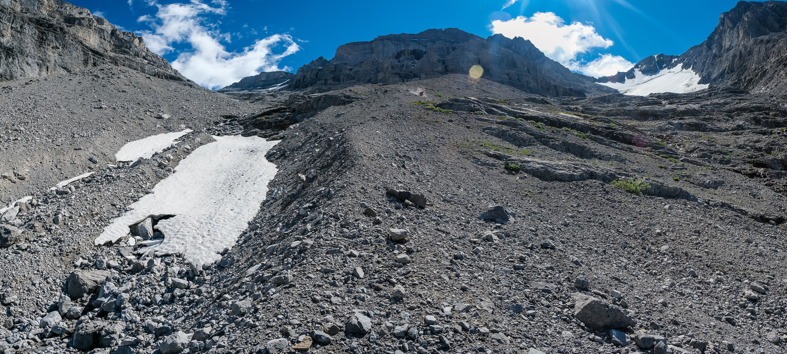 The gully is a mix of annoying scree, snow and small rocks.