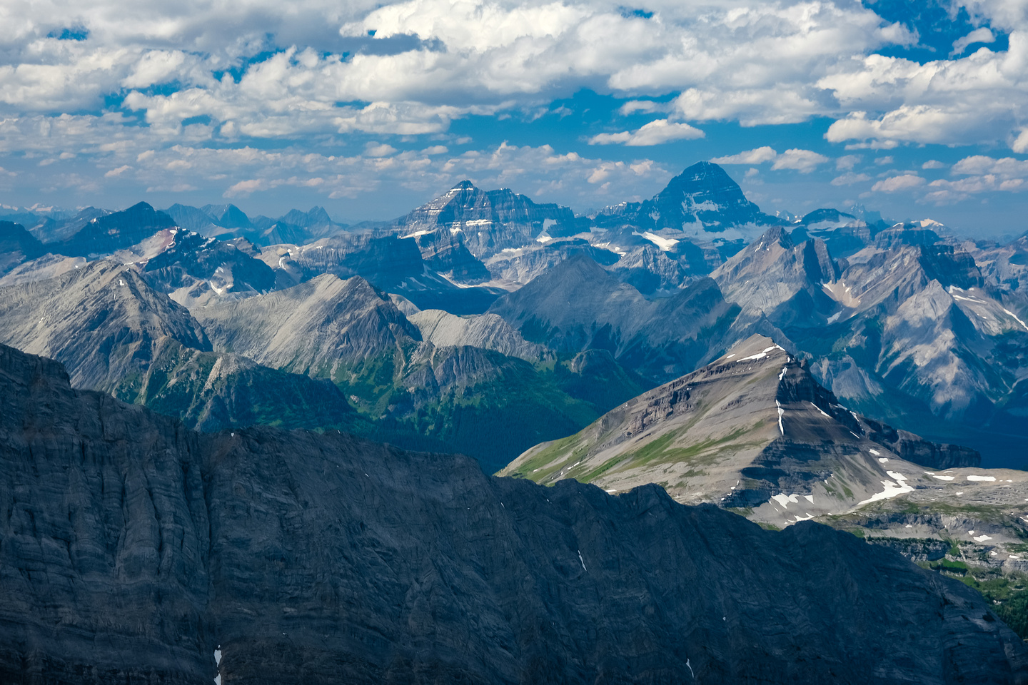 Snow Peak in the fg with Eon and Mount Assiniboine rising beyond.